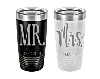 Mr. & Mrs. Laser Engraved Travel Mug Set of 2, Personalized Wedding Mugs, 20 oz. Polar Camel Insulated Stainless Steel, Custom Wedding Gifts