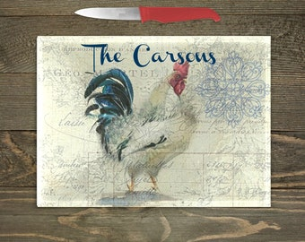 Personalized Glass Cutting Board, Your Choice of Words, Rooster ThemeDecor, Rooster Kitchen, Farm Cutting Board, Custom Cutting Board