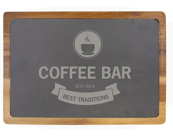 Personalized Acacia Wood/Slate Cutting Board - Your Choice of Image/Words, Laser Engraved, Custom Wood/Slate Cutting Board, Housewarming
