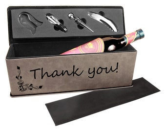 Laser Engraved Wine Box with Tools, Your Choice of Image/Words, Gray Leatherette, Custom Wine Box, Personalized Wine Box, Corporate Gifts