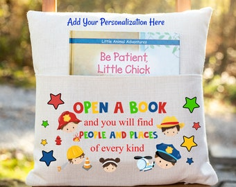 Personalized Book Pillow Cover, Open a Book and you will find People and Places of every kind, Reading Pillow Cover,Pocket Book Pillow Cover