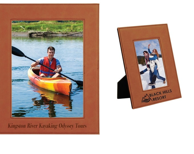 Personalized Leatherette Photo Frame, Rawhide, Custom Photo Frame, Engraved Photo Frame, 5x7 or 8x10, Corporate Gifts, Personalized Gifts