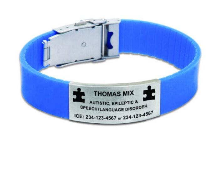Personalized Medical Alert Bracelet, Your Choice of Image/Words, Blue, Laser Engraved, Medical Alert Bracelet, Allergy Bracelet, Medical ID