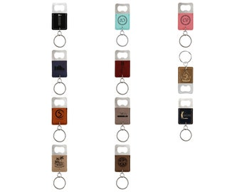 Personalized Leatherette Bottle Opener Keychain,Your Choice of Image/Words, Engraved Bottle Opener Keychain, Custom Bottle Opener Keychain