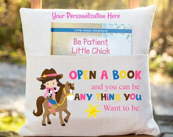 Personalized Book Pillow Cover, Open a Book and you can be Anything you Want to be, Girls Pocket Pillow Cover, Reading Book Pillow Cover