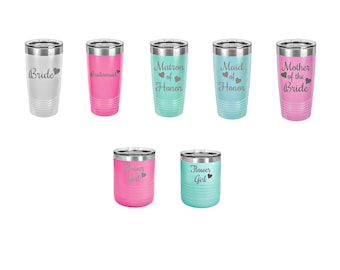 Bridal Party Hearts Laser Engraved Travel Mugs, Personalized, 16 Different Colors, Quantity Pricing, Insulated, Yeti Style, Stainless Steel