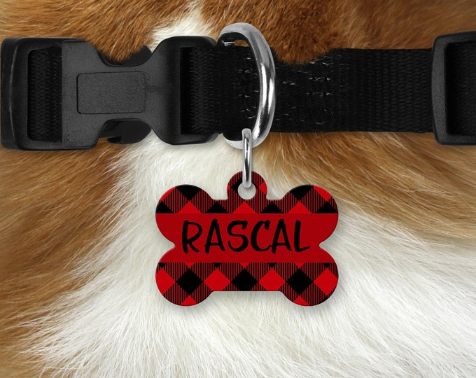 Personalized Pet Tag - Checkered, Your Choice of Photo/Image/Words, Double Sided Pet Tag, Custom Pet Tag, Custom Dog Tag, Custom Pet ID Tag