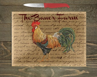 Personalized Glass Cutting Board, Your Choice of Words, Rooster Theme Decor, Rooster Kitchen, Farm Cutting Board, Custom Cutting Board