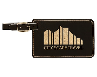 Personalized Luggage Tag, Your Choice of Image/Words, Black with Gold, Laser Engraved, Custom Luggage Tag, Personalized Travel Tag, Bag Tag