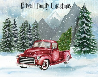 Personalized Glass Cutting Board, Your Choice of Words, Vintage Truck Christmas Themed Background, Custom Christmas Cutting Board