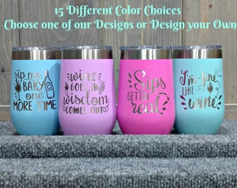 Laser Engraved Wine Glass, Personalize with Your Choice of Image/Words, 16 oz. Insulated, Stainless Steel, Custom Gifts, Bridal Party Gifts
