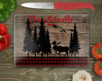 Personalized Glass Cutting Board, Your Choice of Words, Buffalo Plaid, Moose, Forest, Mountains, Rustic, Custom Cutting Board