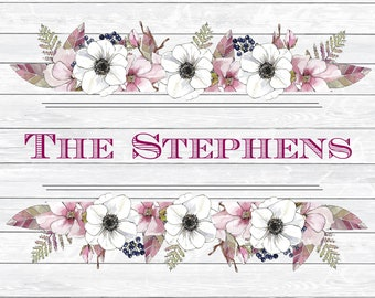 Personalized Glass Cutting Board, Your Choice of Words, White Distressed Wood with Floral Border, White & Violet, Custom Cutting Board