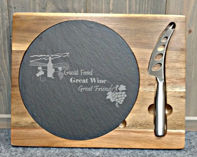 Slate Cheese/Cutting Board on Acacia Wood Base with Knife, Great Food, Great Wine, Great Friends,Housewarming Gifts,Wedding Gifts,Wine Gifts