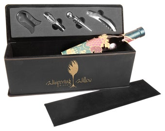 Laser Engraved Wine Box with Tools, Your Choice of Image/Words, Black with Gold Leatherette, Custom Wine Box, Personalized Wine Box