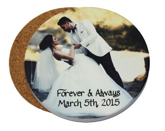Personalized Sandstone Round Coasters, Your Choice of Photo/Image/Words, Set of 4, Laser Engraved, Personalized Coasters, Photo Coasters