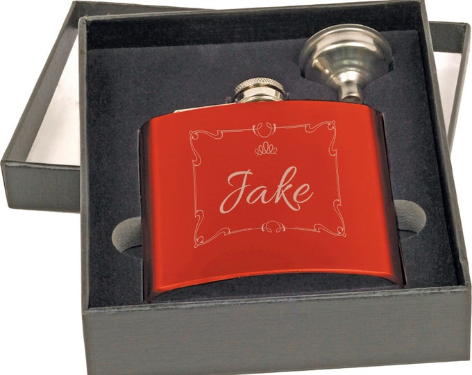 Laser Engraved Gloss Red Flask, Personalized - Your Choice of Image/Words, Custom Flask, Personalized Gifts, Groomsmens Gifts, Mens Gifts