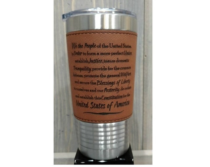 Featured listing image: Custom Laser Engraved Leatherette Travel Mugs, Your Choice of Image/Words, 20 oz. Insulated, Yeti Style, Stainless Steel, Corporate Gifts