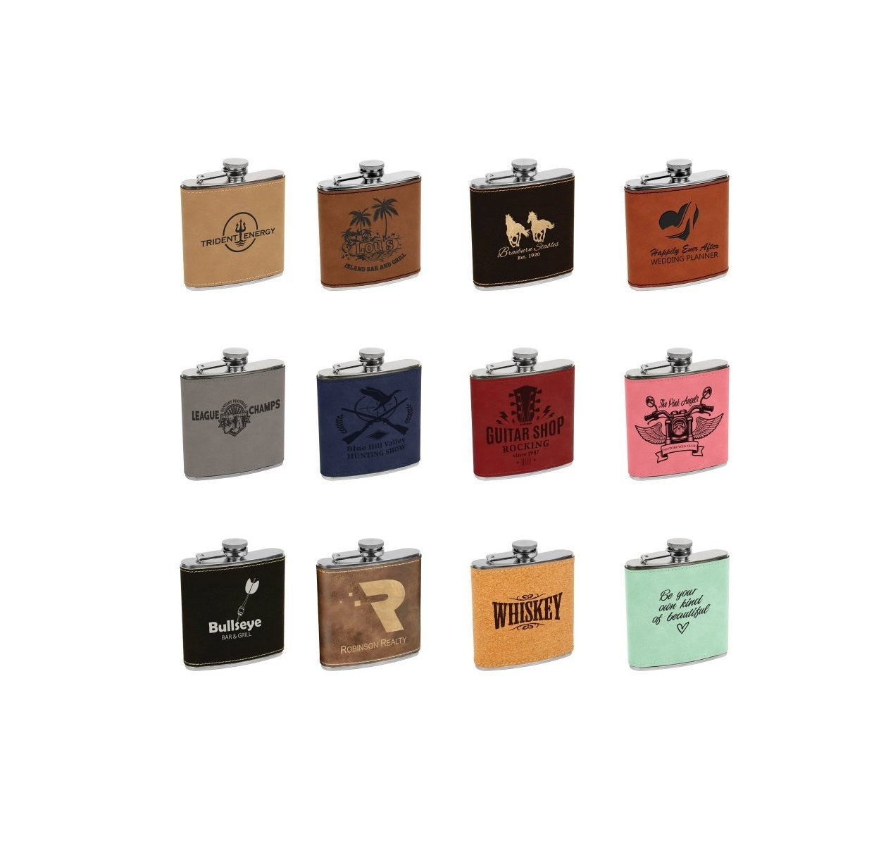 Personalized Leatherette Flask Your Choice Of Image Words Custom Flask Laser Engraved Flask Personalized Gifts Groomsmens Mens Gifts