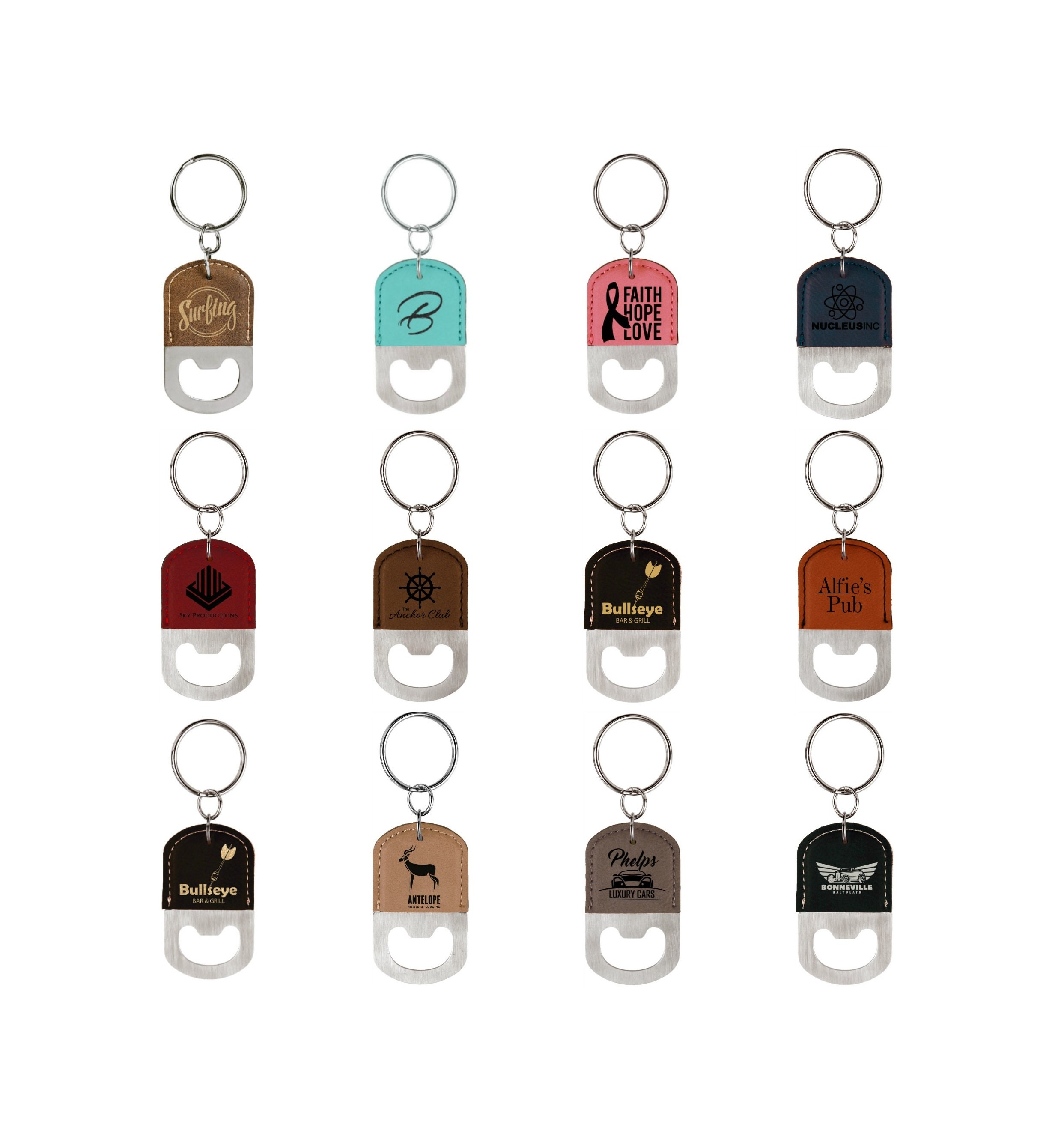 Personalized Leatherette Bottle Opener Keychain,Your Choice
