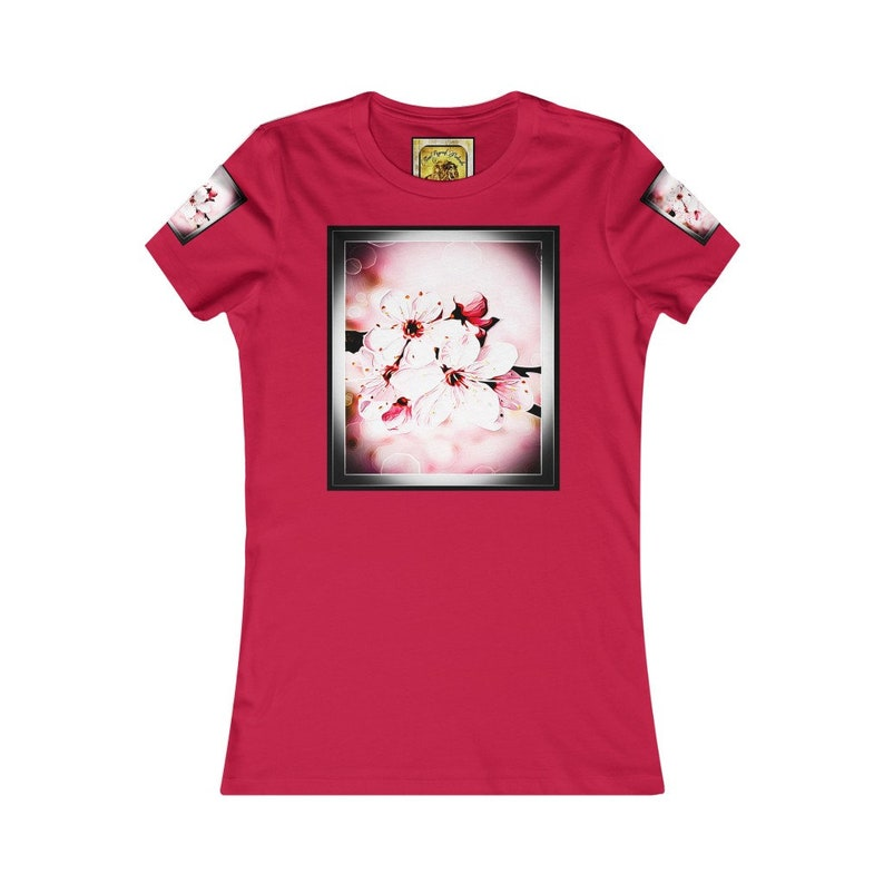 Pictorial Cherry Blossoms 01-02 Women/'s Favorite Tee Floral Embosses
