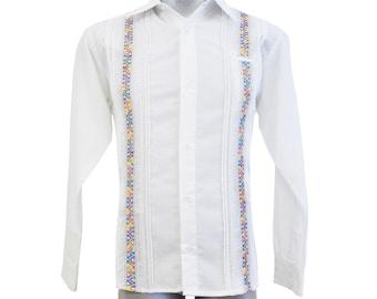 8e92c7de Guayabera Primavera, Men's Guayabera, White Shirt, Mexican Shirt,  Embroidered shirt