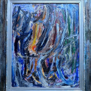 6 x 6 original abstract expressionism oil on canvas Fortress