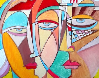 """large painting, Large wall art Picasso style Cubist art. Free Shipping """" Lovers """" Size 16 x 20 inches"""