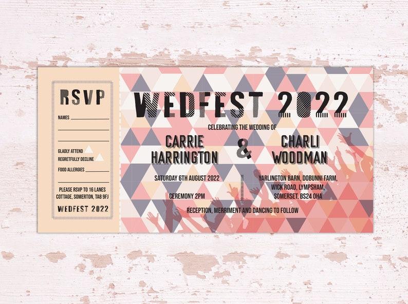 Wedding Set Wedfest festival wedding ticket PRINTABLE afbeelding 2