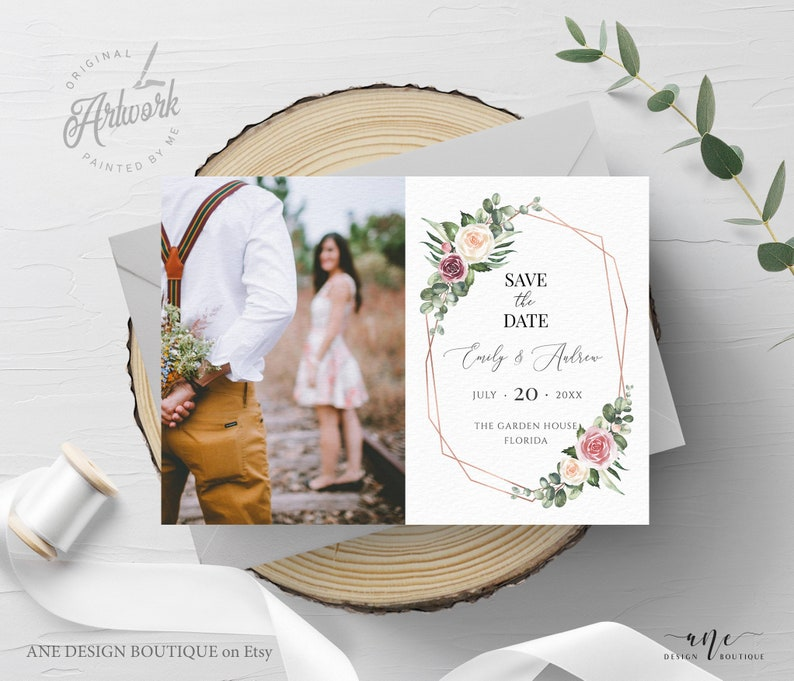 Mauve Rose Printable Boho Wedding Date Announcement Card with Photo Editable Rustic Photo Save The Date Template Download Templett 007