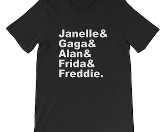 Bi Pride t-shirt, famous bisexuals, bi icons, bisexual history, bisexuality, Lady Gaga, Frida Kahlo, Freddie Mercury, bi arts festival