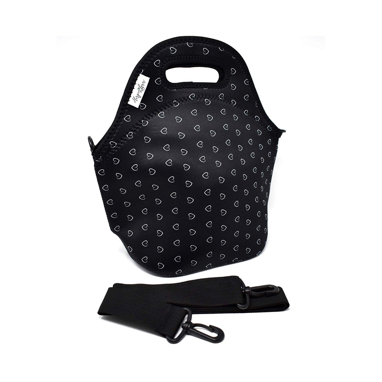 026b15bf9cae HarperLynn Insulated Neoprene Lunch Bag Tote with Shoulder Strap - Cute,  Lightweight Reusable with Zipper (Heart Print) - Perfect for Moms