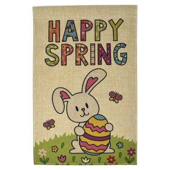 Happy Spring Garden Flag Easter Holiday Bunny 12x18 Double Etsy