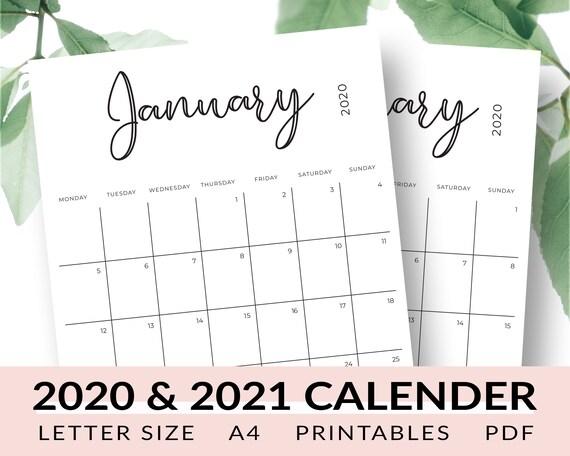2020-2021 Calendar Printable January 2020 December 2021 | Etsy