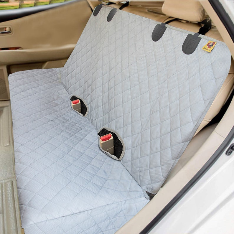 Bark Lover Quilted Waterproof Car Bench Seat Cover for Dog Grey