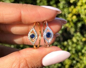 Minimalist Turkish Eye Jewelry Nazar Evil Eye Ring Dainty Evil Eye Adjustable Ring