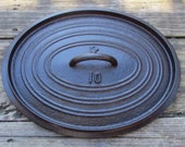 PE No 10 Cast Iron Oval Roaster Dutch Oven Cover Lid g87