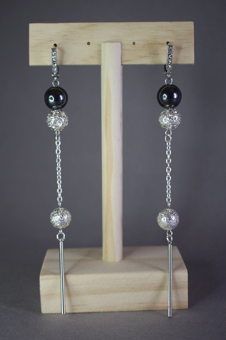 Bridesmaids Jewelry Wedding Jewelry Long Hematite Earrings Stone Beautiful Earrings Long Chain Earrings Lava Hematite Earrings