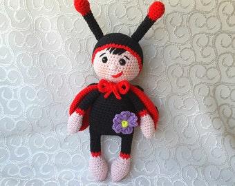 Cute Bonnie Ladybug Doll Crochet Pattern By HavvaDesigns | 270x340