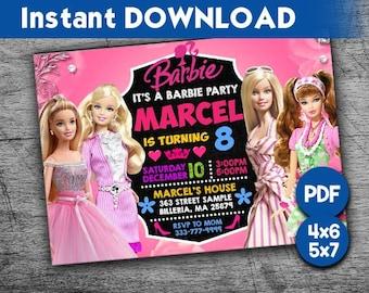 Barbie Invitation Birthday Digital Invite Party