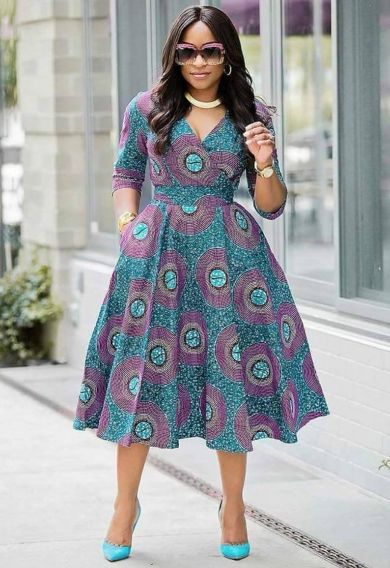 African Ankara dress African Clothing for Woman Midi Dress image 1
