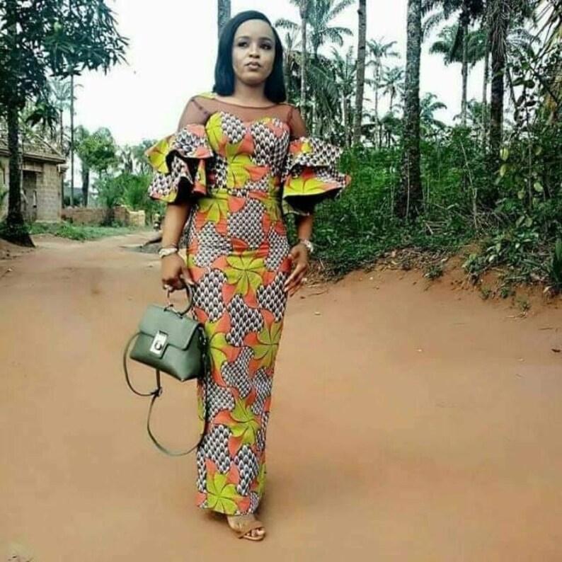 863024255b African fashion dashiki print gown hand made dress vintage