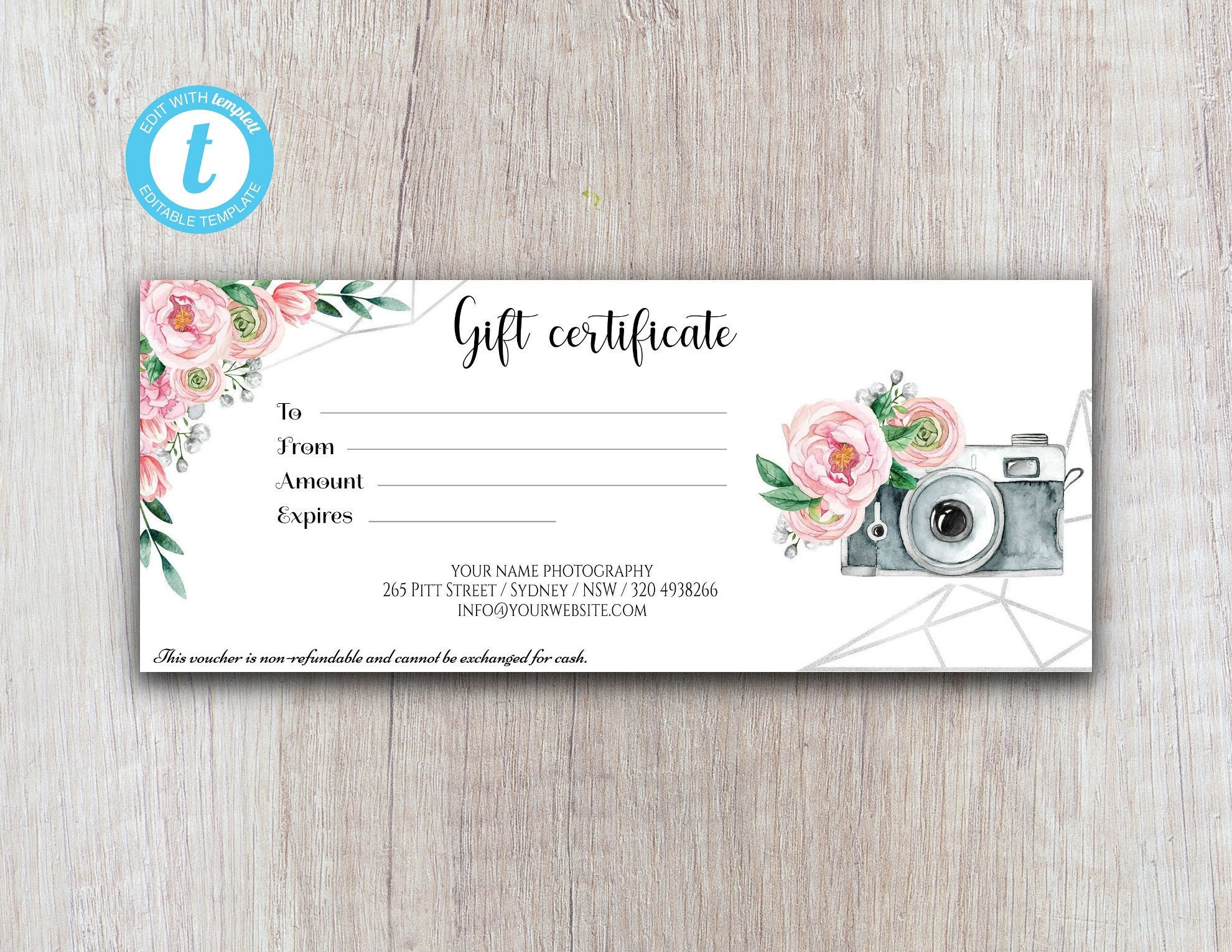 Photography Gift Certificate Templates  Printable Gift Certificate,  Editable Template, Instant Download For Free Photography Gift Certificate Template