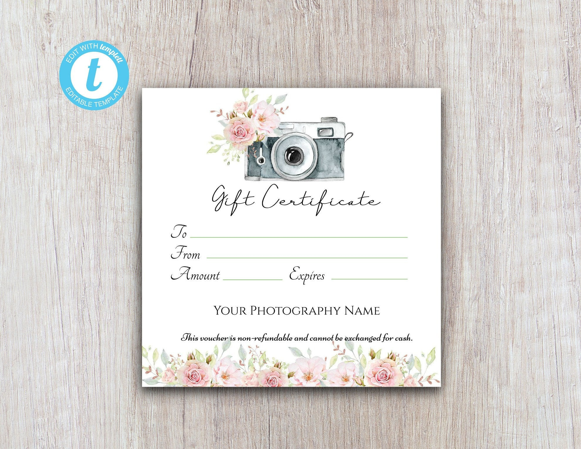 Photography Gift Certificate Template, Gift Voucher Printable Template,  Gift Card Download For Customers Within Free Photography Gift Certificate Template