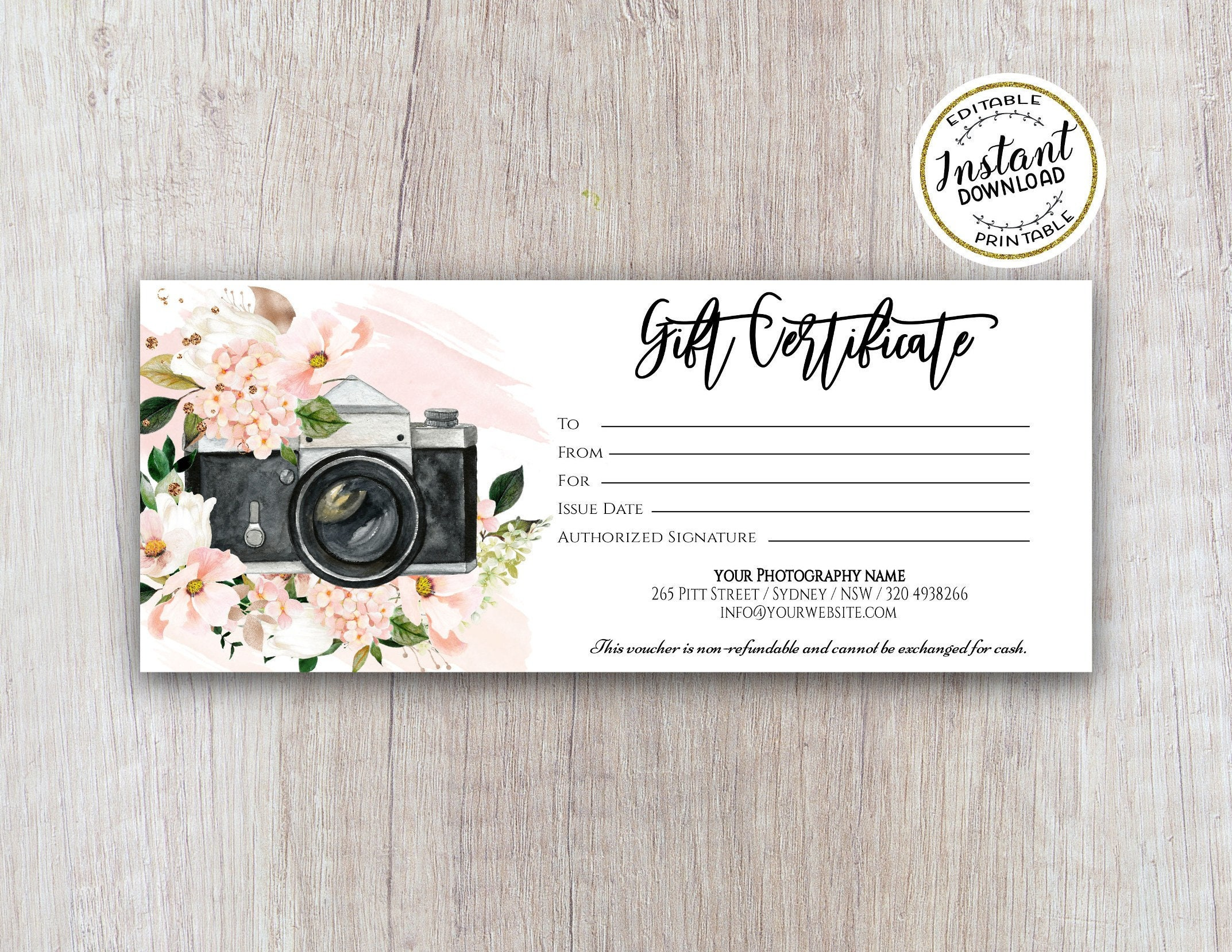 Photography Gift Certificate Template - Photography gift card template -  Photo session voucher card - Editable Printable Template Inside Free Photography Gift Certificate Template