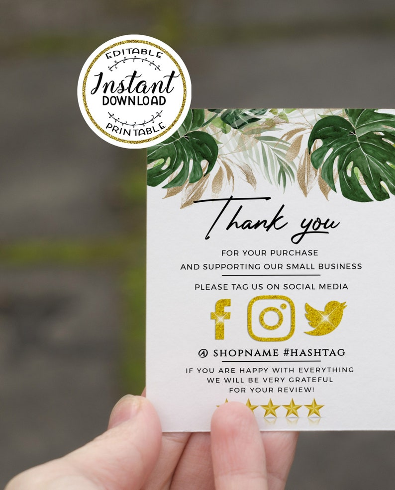 tropical business thank you insert card template  small
