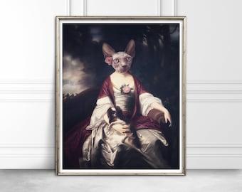 Sphynx Cat Print / UNFRAMED / Vintage Animal Art / Whimsical Art / Gallery Wall Art Print / Cat Decor / Cat Lady Gift