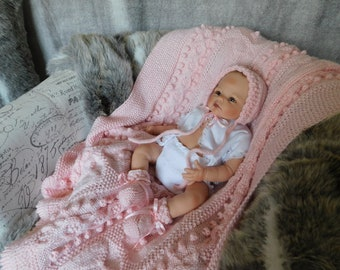 e8c83700734 Pink Bobble Bunny Baby Blanket with Matching Hat and Booties