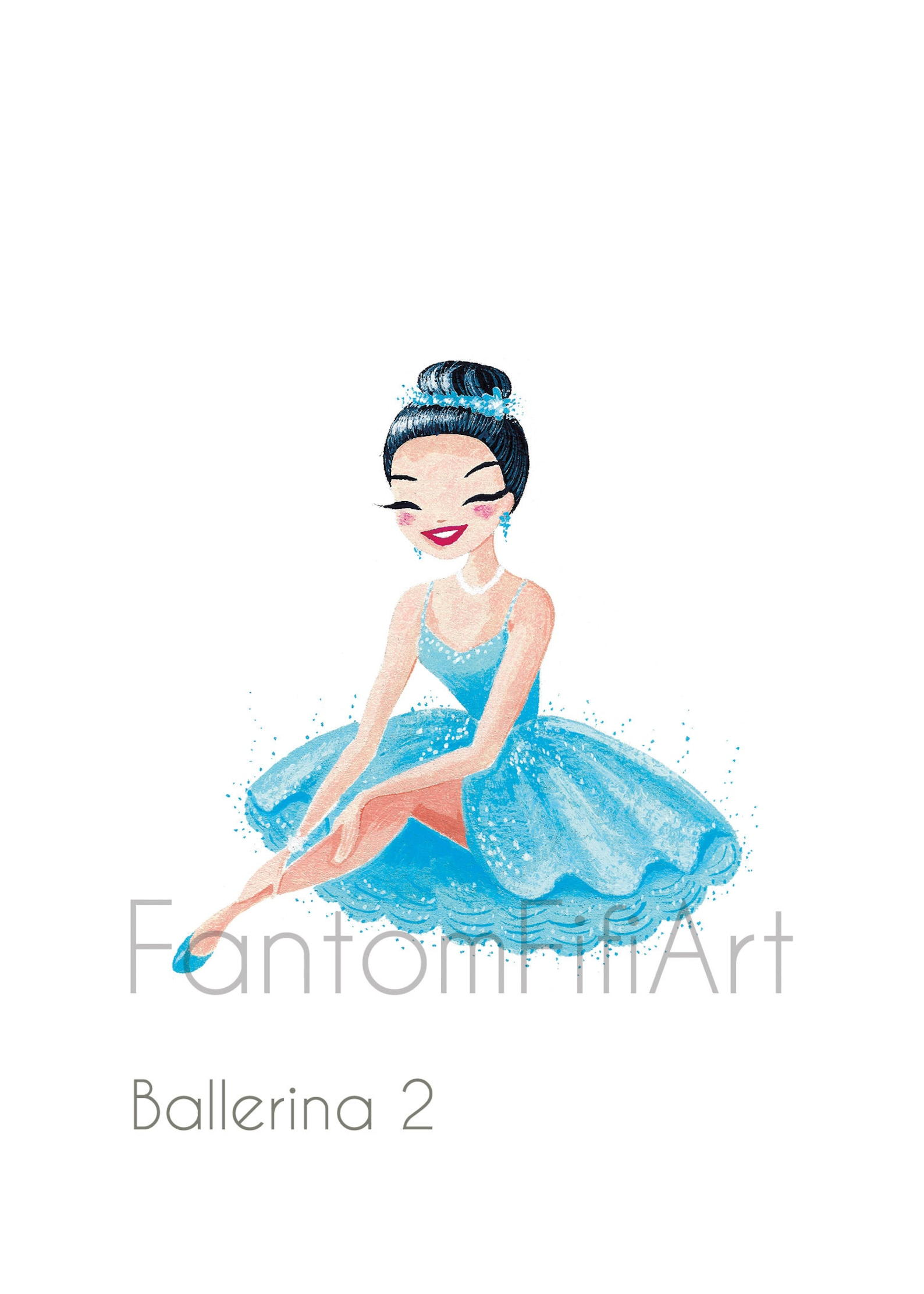 set of blue ballerinas mini fine art prints, cute ballet dancers, blue tutus, gouache painting art prints, girly and sparkly