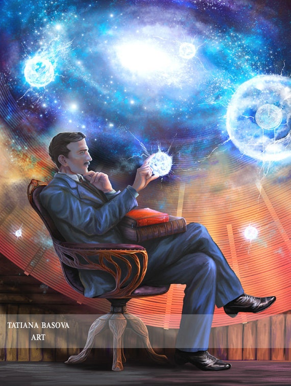 Nikola Tesla Art Print /'Hope/' Photo Poster Gift Science Inventor Coil